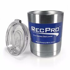 RecPro 10oz Lowball Tumbler Insulated 18/8 Stainless Steel Cup w/ Slider Lid
