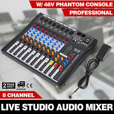 8 Channels Mic/Line Audio Mixer Mixing Console Karaoke Signal Mute Light Effect