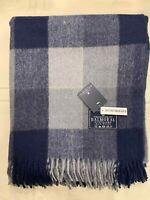 100% Wool Blanket | The House Of Balmoral Scotland | Navy Grey Balck Check