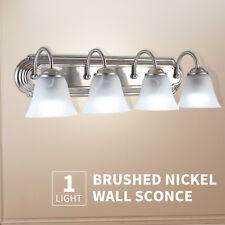 4 Light Brushed Nickel Bathroom Vanity Light Bath Fixture Alabaster Glass