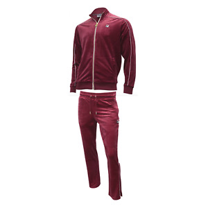 Fila Men's Velour Heather sweatsuit tracksuit Vintage Red New Sizes 2XL