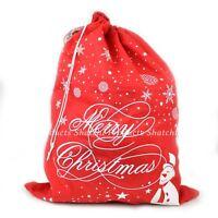 1 Christmas Santa Sack Stocking Sock Gifts Bag Xmas Accessory Snowman Snowflake