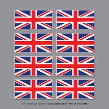 SKU2570 - 8 x Union Jack Reino Unido Bandera de Coches Bicicleta Casco Pegatinas de vinilo Calcomanías - 30mm