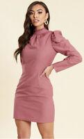 New Look Dress Shift Size 8,10,12,14 Dusky Rose Cotton Poplin Puff Sleeves GP98
