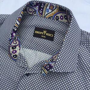 Bertigo mens shirt Button Up Casual Shirt 5/XL Blue White Paisley Lined RRP$223