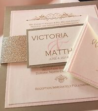 Handmade wedding Invitation Ivory, Gold & Pink