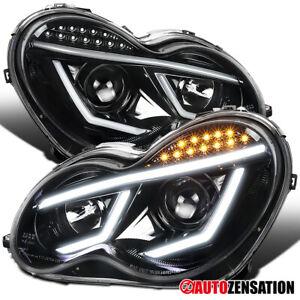 For 2001-2007 Benz W203 C-Class Slick Black Projector Headlights