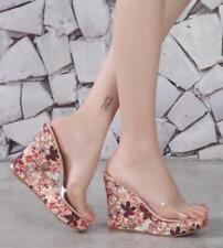 Womens Retro Floral High Wedge Platform Slippers Transparent Open Toe Sandals C8