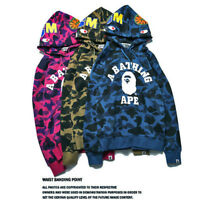 Men's A Bathing Ape Camouflage Hooded Jacket FULL Zipper Bape Shark Head Hoodie~