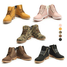 Women's Work Boots Winter Leather Boot Lace up Outdoor Waterproof Snow Boot Fur