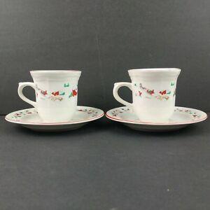 2 Mugs Tea Cups Saucers Farberware White Christmas #391 Katherine Babanousky