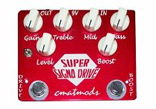 USED CMAT MODS SUPER SIGNA DRIVE OVERDRIVE EFFECT PEDAL w/ FREE CABLE $0 US SHIP