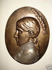 Bas relief  plaque profil Jeanne d'Arc patine  bronze