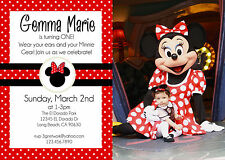 Red & Black Minnie Mouse Personalized Birthday Invite w/ Photo *You Print*