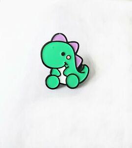Kawaii cute green dinosaur soft enamel pin badge 28mm tall rubber back