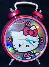 Hello Kitty Jumbo 10 inch Dia Metallic Pink Hologram Face Twin Bell Alarm Clock