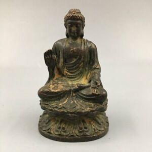 "3.7"" Collect Chinese Bronze Buddhism Shakyamuni Amitabha Buddha Statue"