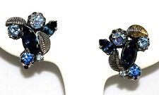 Vintage Triad Dark Green Marque Rhinestone & Blue AB Clip Earrings w/ Gold Leaf