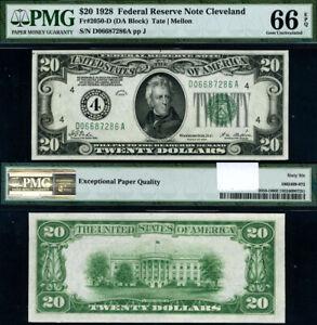 FR. 2050 D $20 1928 Federal Reserve Note Cleveland D-A Block Gem PMG CU66 EPQ
