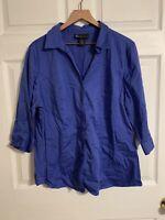Lane Bryant Women's Button Down Shirt Blouse ~ Sz 20~ 3/4 Sleeve ~ Blue