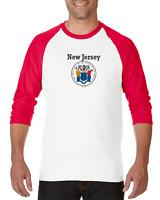 Raglan T-shirt 3/4 Sleeve Long New Jersey State Seal