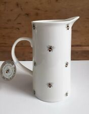 New Botanical Discovery White Ceramic Bumble Bee Pitcher Jug Vase County Rustic
