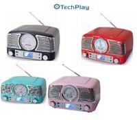 TechPlay QT62BT Retro Compact Stereo Bluetooth CD AM FM Radio USB Alarm NEW