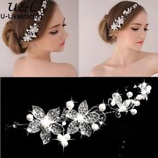 Bridal Hair Accessories Wedding Headpiece Pearl Crystal Flower Vine Tiara W2