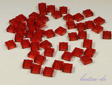 LEGO - 50 x Platte 1x1 transparent rot / Trans-Red Plate 1 x 1 / 3024 NEUWARE