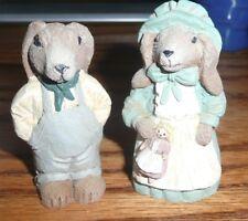 "Resin Mr. & Mrs. Rabbit figurines 2 1/2"" tall mint cond. Easter"