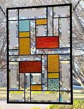 Red & Amber, Beveled Stained Glass Window Panel, Hanging, Transom, Sidelight