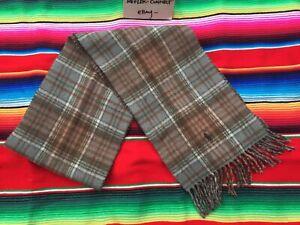 Ralph Lauren POLO brown tartan plaid wool fringe scarf 9.5 X 65 Italian Made EUC