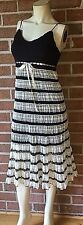 BETSEY JOHNSON Crocheted Frilly Empire Waisted Modern Lace & Stripe Dress Small
