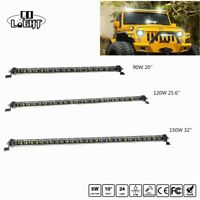 1pc 20Inch 25.6Inch 32Inch Single Row 6D LED Spot Work Light Bar 90W 120W 150W