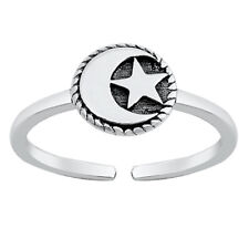 Moon and Star Design Toe Ring Face Height: 7 mm Sterling Silver 925 USA Seller