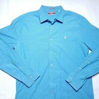 Penguin By Munsingwear Heritage Slim Fit Buttot Shirt Blue Long Sleeve  Mens XL