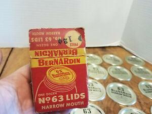 12 Bernardin No. 63 Narrow Mouth Canning Jar Lids Depression 1940's PRIMITIVE