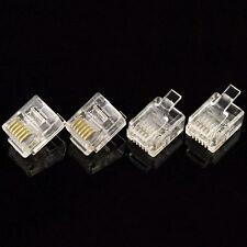 RJ12 Modular Plugs 6P6C for Solid 100 pcs Connectors ET