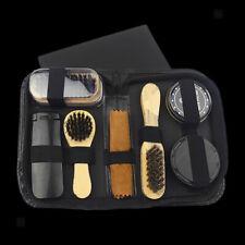 Travel Shoe Shine Care Kit Black Polish Brush Set for Boots Shoes 10 In 1