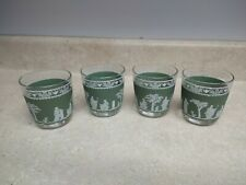 4 Vintage JEANETTE Jasperware Grecian Hellenic Green Glass LOW BALL Tumblers