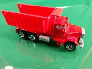 Hot Wheels Red Peterbilt Dump Truck 1/64 Diecast in Good Condition