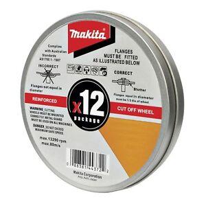 Makita REINFORCED CUT OF WHEELS 12 Pieces Metal Cutting Discs- 115 mm