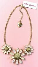 Nwt Betsey Johnson Bee Mine Flower Gold Tone Pave Stone/ Crystal Chain Necklace