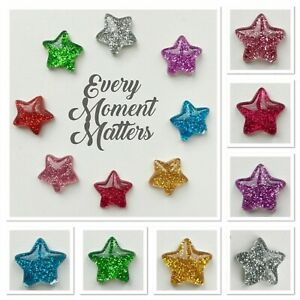 10 x GLITTER STAR FLAT BACK RESIN EMBELLISHMENTS CABOCHONS 16mm Mixed Colours