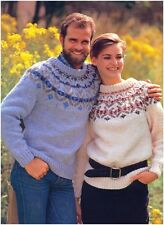 His and hers Chunky Scandinavian Fair Isle Yoke Sweaters Knitting Pattern