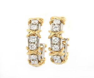 Tiffany & Co. Schlumberger Twenty Stone Hoop Earrings in Platinum and 18K