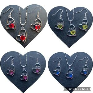 Crystal Rhinestone Gemstone Heart Necklace Earrings Set Valentines Day Gift Set