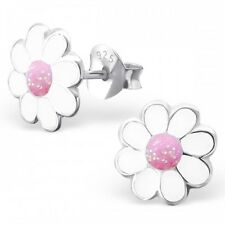Childrens Girls Sterling Silver White & Pink Daisy Stud Earrings 8mm -Gift Boxed