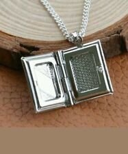 Silver Photo Album Bible Locket Pendant Chain Necklace MOTHERS DAY