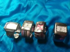 Four Designer style assorted color fashion bangle cuff women's watches 1980's